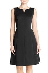 Women's Ellen Tracy Keyhole Front Scuba Fit And Flare Dress Black