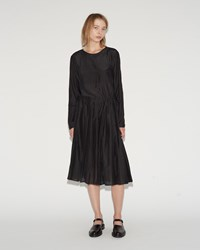 Sara Lanzi Cotton Silk Pleated Dress Black