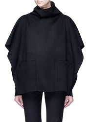 Ms Min Stand Collar Felted Wool Cashmere Cape Black