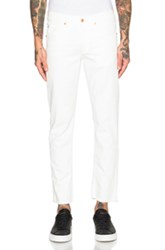 Off White Slim Fit Crop Jeans In White