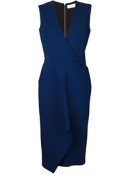 Victoria Beckham Front Ruffle Sleeveless Dress Blue