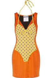 Moschino Swimsuit Effect Satin Mini Dress Orange