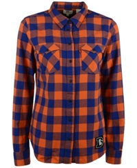 Levi's Women's Denver Broncos Plaid Button Up Shirt Orange Blue