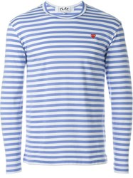 Comme Des Gara Ons Play Striped Sweatshirt Blue