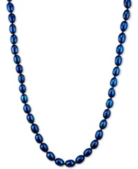 Honora Style Indigo Cultured Freshwater Pearl Necklace In Sterling Silver 7 8Mm