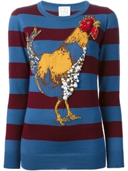 Stella Jean Striped Rooster Motif Sweater Blue