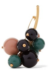 Marni Gold Plated Resin Brooch Green Black