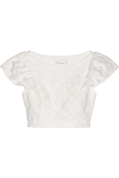 Milly Cropped Embroidered Mesh Top
