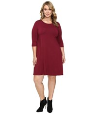 Christin Michaels Plus Size Abida 3 4 Sleeve Flowy Dress Wine Women's Dress Burgundy