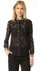 Bcbgmaxazria Baseball Lace Blouse Black