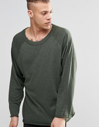 Weekday Goliath Crew Sweatshirt Raw Hem Khaki Green 19 203