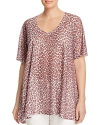 Nally And Millie Plus Leopard Print High Low Tee White
