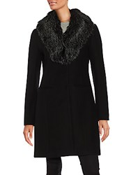 Vera Wang Angie Faux Fur And Wool Blend Coat Black