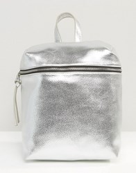 Missguided Metallic Texutured Rucksack Silver