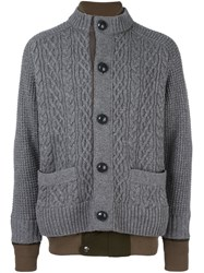 Sacai Layered Effect Cardigan Grey