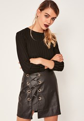Missguided Black Faux Leather Eyelet Detail Lace Up Skirt
