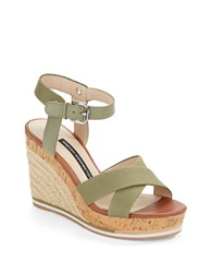French Connection Lata Cork And Espadrille Platform Wedge Sandals Olive