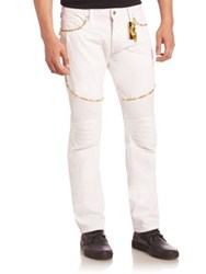 Robin's Jeans Solid Studded White