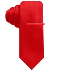Alfani Red Extra Long Solid Skinny Tie