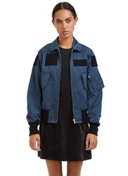 Yang Li Slim Patched Bomber Jacket Blue