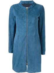 Herno Panelled Zip Coat Blue