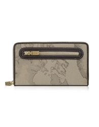 Alviero Martini Geo Print Zip Around Wallet Dove Gray