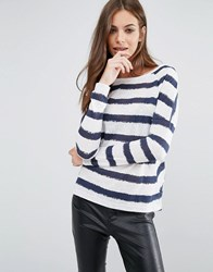 Vero Moda Molly Boatneck Stripe Top Blue White Green