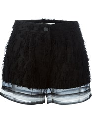 Jonathan Simkhai Sheer Hem Frayed Shorts Black