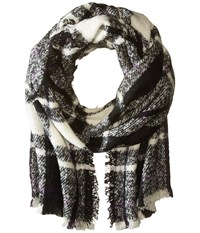 Lauren Ralph Lauren Mohair Blanket Plaid Scarf Black Cream Scarves