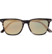 Bottega Veneta Square Frame Acetate And Gunmetal Tone Mirrored Sunglasses Gray