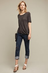 Anthropologie Pilcro Hyphen Mid Rise Embroidered Boyfriend Jeans Denim Dark