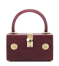 Dolce And Gabbana Box Vanity Leather Cosmetic Case Handbag Red