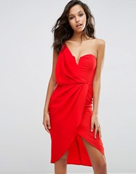 Asos Asymmetric One Shoulder Wrap Front Pencil Dress Fiesta Red