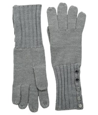 Michael Michael Kors Fisherman Stitch Button Glove Pearl Heather Grey Polished Nickel Extreme Cold Weather Gloves Gray