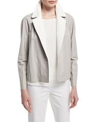 Lafayette 148 New York Callan Two Tone Leather Jacket Women's Sterling White