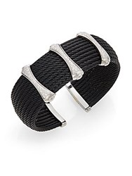 Alor Diamond Black Stainless Steel And 18K White Gold Cuff Bracelet
