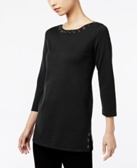 Cable And Gauge Grommet Sweater Black