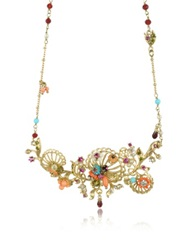 Les Nereides Neo Bourgeoise Arabesques Metal Lace And Embroidery Necklace Gold