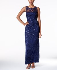 Tahari By Arthur S. Levine Asl Embroidered Sequined Illusion Gown Navy