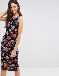 Jasmine Midi Dress In Floral Print Navy