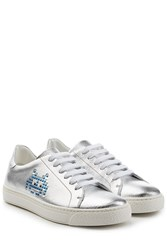 Anya Hindmarch Space Invader Metallic Leather Sneakers Silver