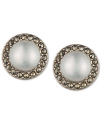 Judith Jack Sterling Silver Glass Pearl And Marcasite Stud Earrings No Color