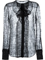 Alexander Mcqueen Sheer Lace Blouse Black