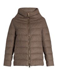 Herno Funnel Neck Silk And Cashmere Blend Down Coat Dark Beige