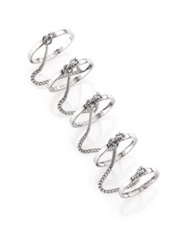 Eddie Borgo Thin Five Finger Chained Band Ring Silver