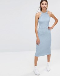 Vero Moda Halter Bodycon Dress Blue