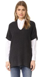 Vince Short Sleeve Rib Tunic H. Carbon