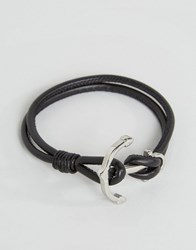 Seven London Anchor Leather Bracelet In Black Black