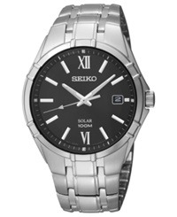 Seiko Watch Men's Solar Stainless Steel Bracelet 38Mm Sne215