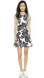 Rebecca Taylor Splashy Flower Print Dress Black White